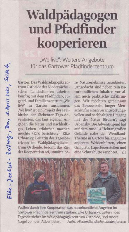 """Waldpädagogen und Pfadfinder kooperieren. """"WE life"""": Weitere Angebote für das Gartower Pfadfinderzentrum"""