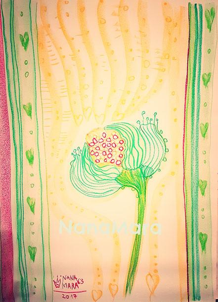 die APRIL-Malerei von meinem Flipchart mit meinen heiß geliebten Ölkreiden.  Die Bedürfnisse deines einzigARTigen Keimlings nähren.