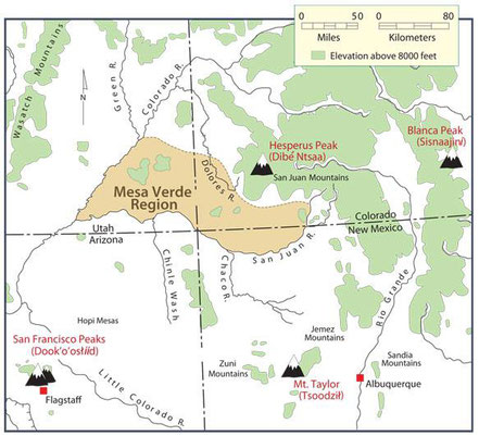 ▲四つの聖山 サンフランシスコピークス、マウントテーラー、ヘスペラスピークス、ブランカピークス。 マウントテーラー周辺にはウラン鉱がたくさんあります。