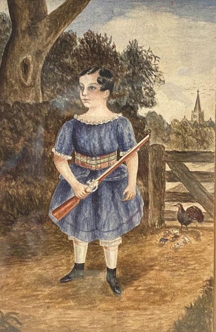 Naive Watercolour of a Boy with Gun