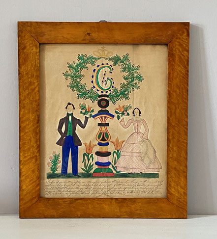 A pair of naive Swedish folk art marriage boards mid 19th century