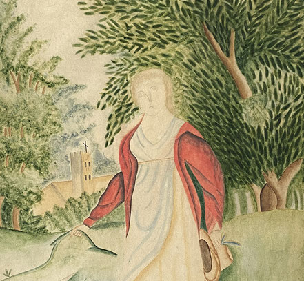 Large Regency Watercolour of a Lady with Sheep