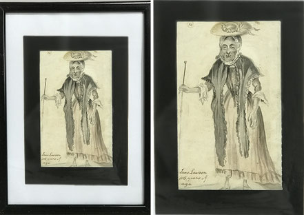 4 early watercolours of country characters