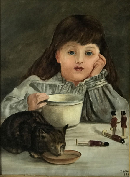 Portrait of a Young Girl with Cat and Toy Soldiers 1908