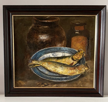 French Rustic Still Life, Fish on a Plate