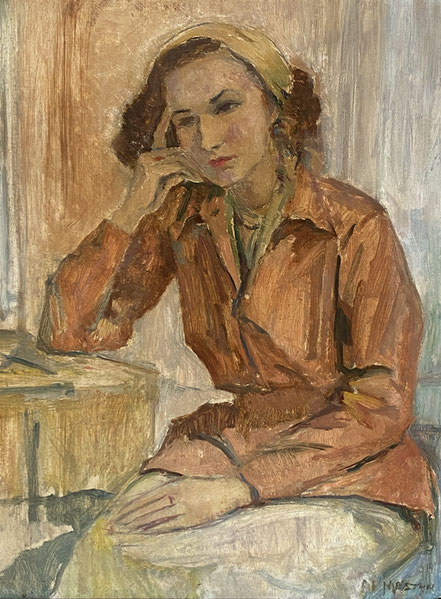 Marjorie Mostyn 1883-1979 'Reverie' oil on canvas board