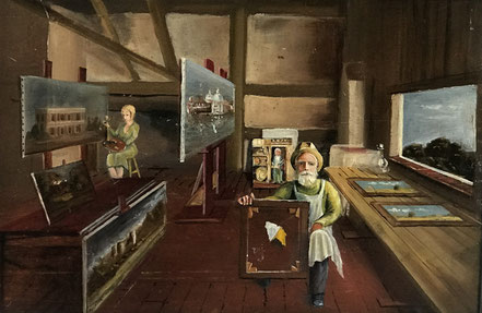 Naive portrait of a picture restorer in his studio