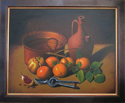 Still life with pomegranates and jug