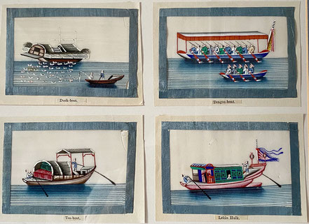 Chinese Pith Paintings of Boats circa 1860