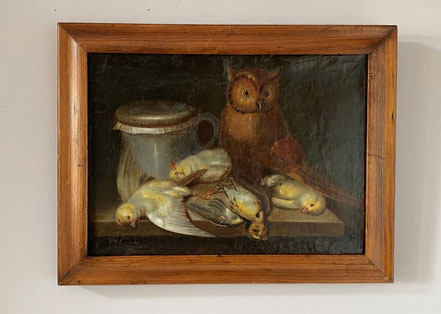 French folk art oil on canvas: owl, pigeons and jug.  Late 19th/early 20th century.