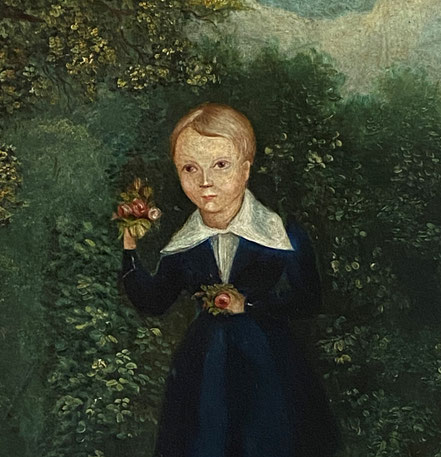 Naive oil of a young boy holding roses c1820