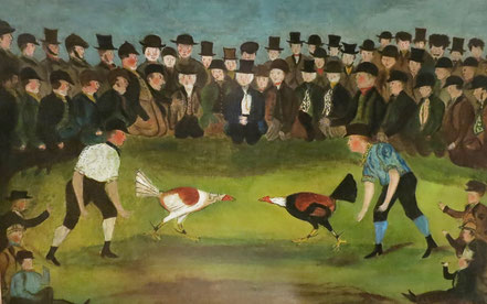 Folk art of cock fight in the countryside
