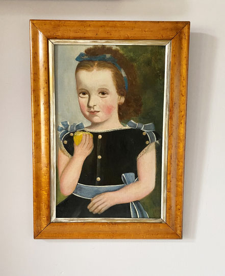 Swedish naive folk art family memorial board signed and dated 1865