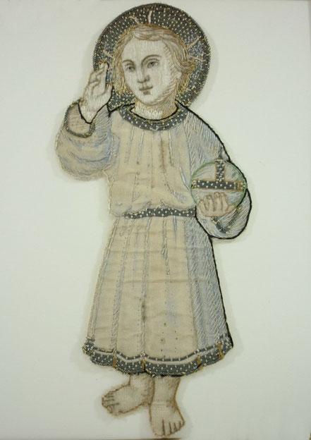 Naive folk art silkwork