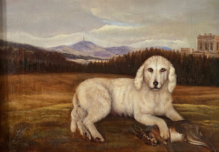 Naive oil portrait of a dog in a landscape, 19th century