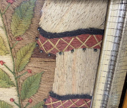 Naive 19th century woolwork woolie tableau of Britannia Rules the Waves Victorian