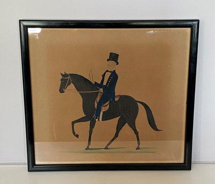 Naive Horse and Rider, watercolour and pencil