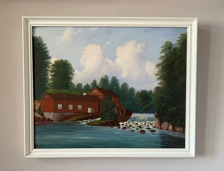 The Red Barn, Naive 19th century Swedish Oil