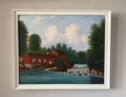 The Red Barn, Naive 19th century Swedish Oil