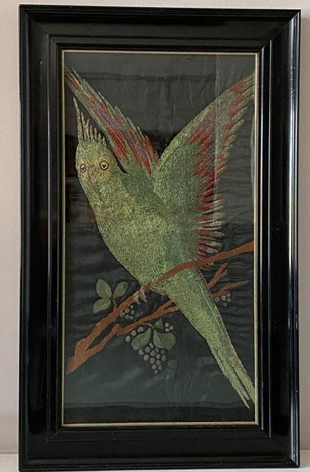 Edwardian silkwork parrot