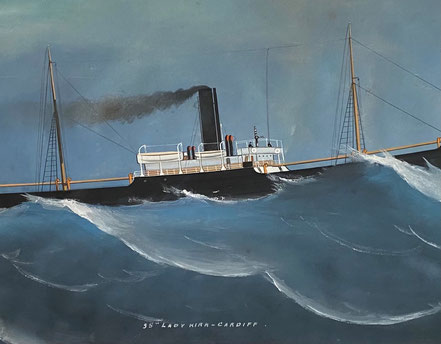 Pierhead Painting of the SS Lady Kirk, Cardiff