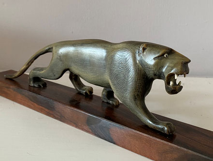 Anglo Indian Carved 'Lion' Buffalo Horn Paperweight