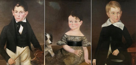 Provincial School set of three portraits of two brothers and their sister early 19th century