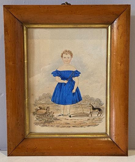 Naive Watercolour Girl in a Blue Dress