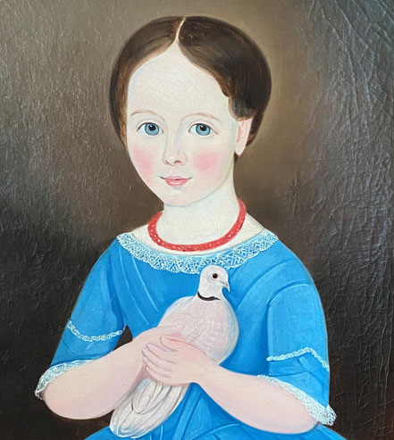 Naive Portrait of a Girl in a Blue Dress holding a Dove, 19th century