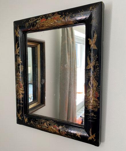 Black Chinoiserie Wall Mirror c1920