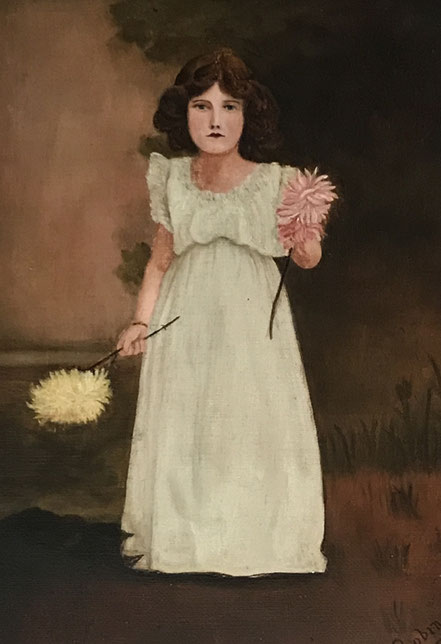 Girl in white with Chrysanthemums after Whistler