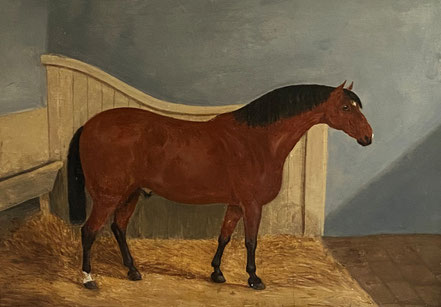 Naive oil on panel portrait of a horse in his stable.  Hat