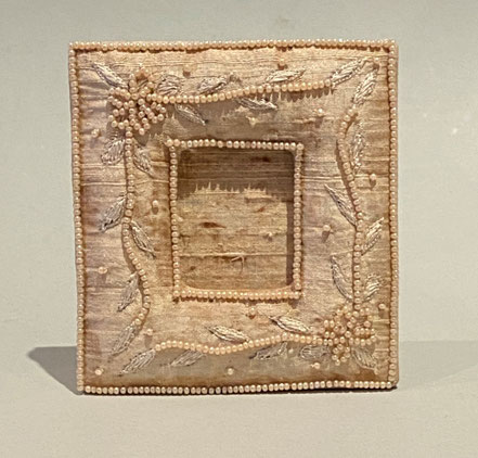 Miniature Victorian silk and seed pearl picture frame