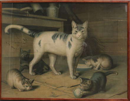 A large and wonderful vintage print of a family of cats in the manner of Gottfried Mind