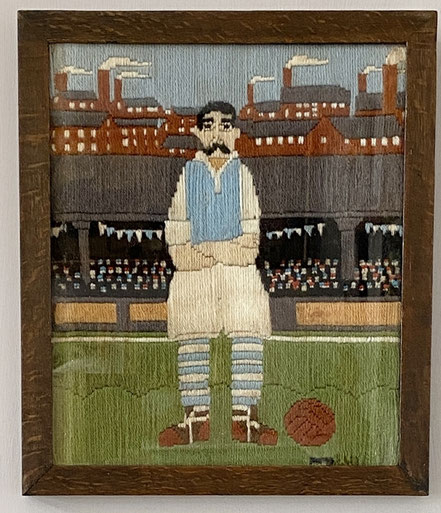 Vintage woolwork of a Manchester City Footballer at the old Hyde Road Stadium