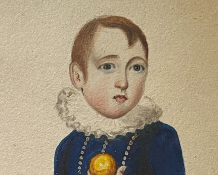 Naive Watercolour of a Boy in Blue with Toy Boat