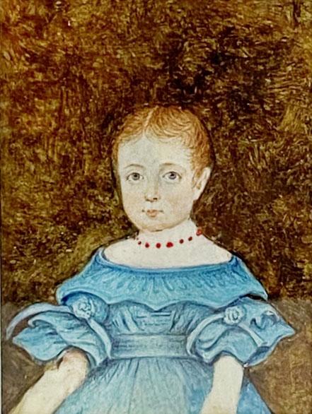 Naive Watercolour of Mrs J Bock of Maine