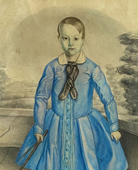 Large Naive Watercolour of a Boy in Blue dated 1849