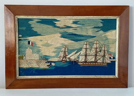 Colourful and Dramatic Sailors Woolwork mid 19th century