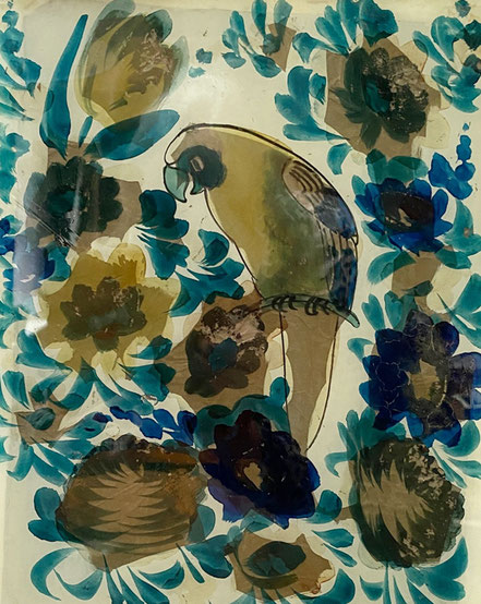 early 19th century foil backed reverse glass painting of a parrot
