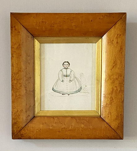 Naive Watercolour Girl with Valentines Wish on Reverse
