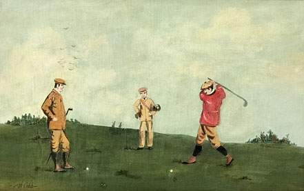 Golfers, early 20th century signed oil on board