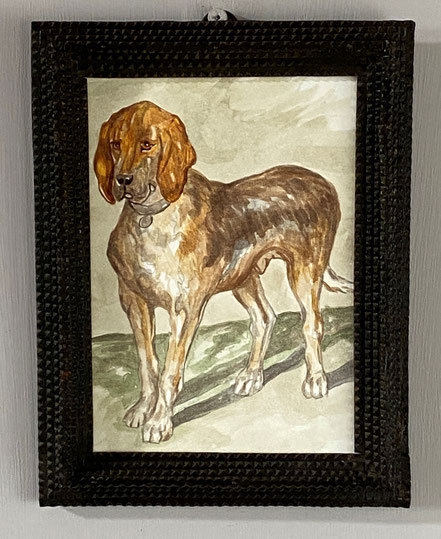 Naive Portrait Miniature of a Hound in Tramp Art Frame