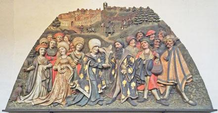 """Eine  Szene des """"Hemma-Reliefs"""", wo Hemma Abschied von ihrem Gatten nimmt."""