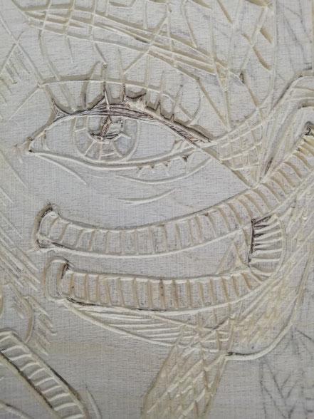 Holzschnitt, Detailansicht Auge