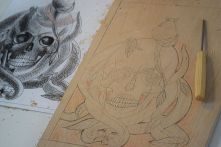 Der Druckstock und die Fineliner Zeichnung