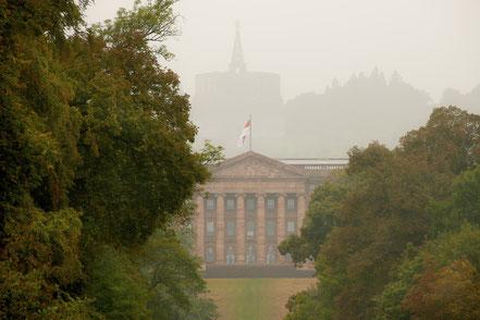 Landschaftsfotografie Deutschland, Bergpark Kassel Wilhelmshöhe, Nebel im Herbst