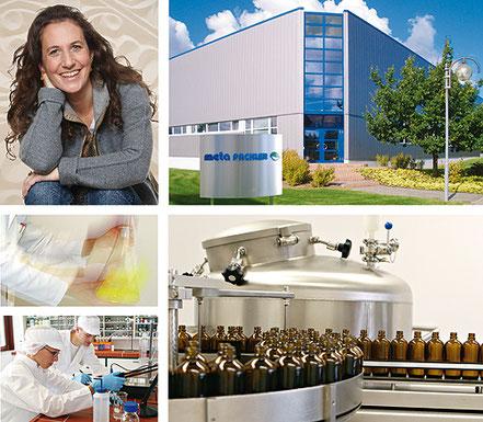 Bildcollage meta Fackler Arzneimittel Gmbh, Frau Fackler, Lager und Versand, Herstellung, Labor und Abfüllung