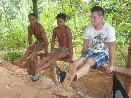 Mit Palawan Ureinwohner im Butterfly Garden (Puerto Princesa)