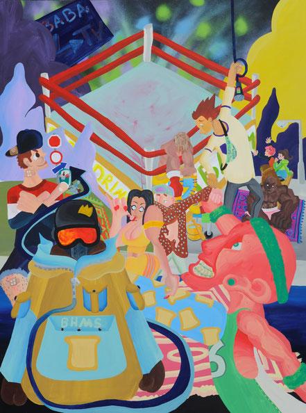 NACH DER FETZEREI, 2019,  Acryl auf Leinwand, 180x 150 cm